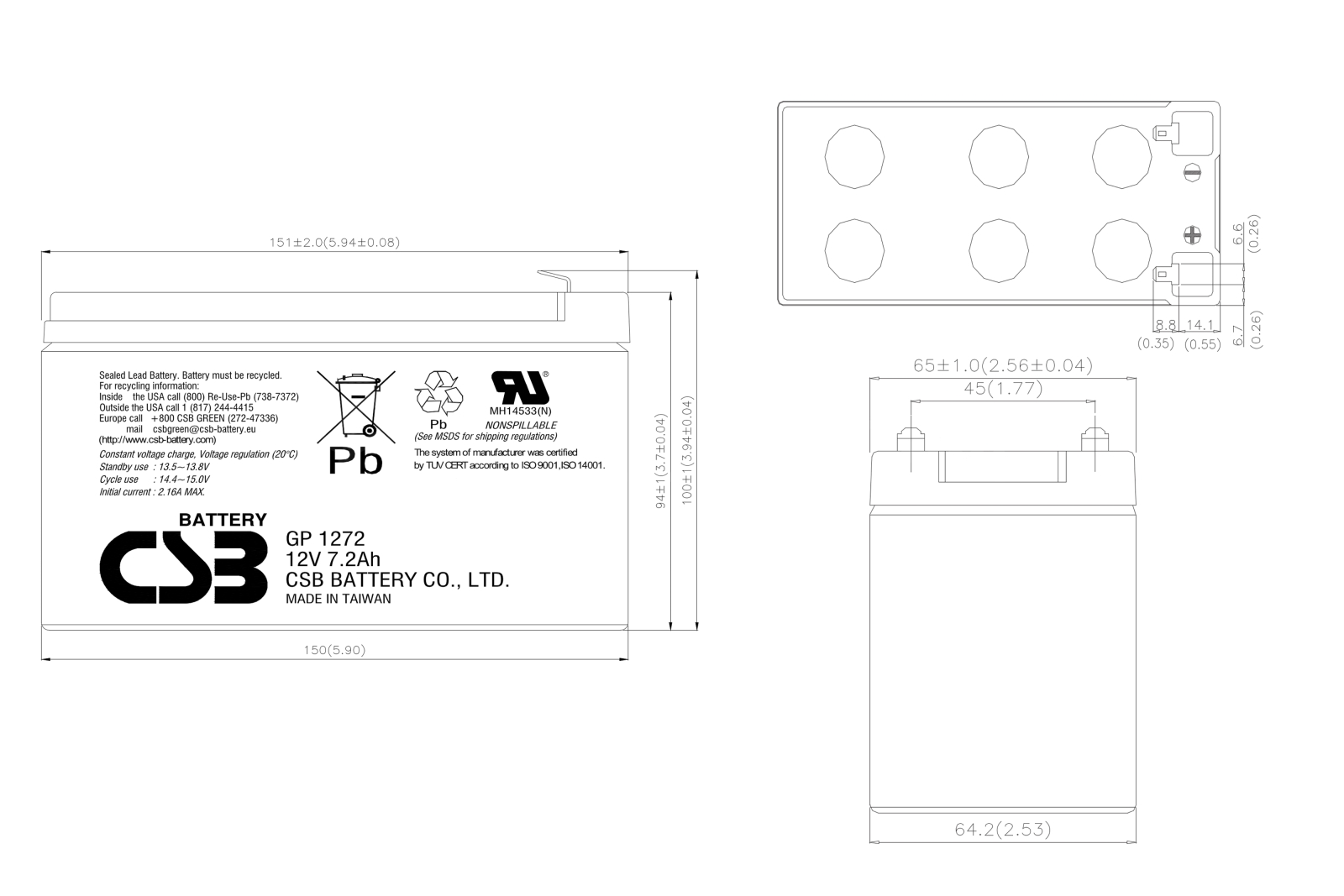 12V 7Ah Battery CSB Faston F2