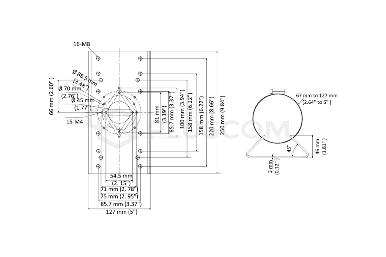 Hikvision DS-1275ZJ-SUS Vertical pole mount bracket