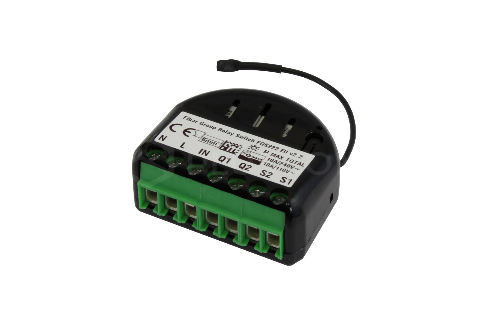 fibaro relay switch 2x1 5kw rh pluscom pl Relay Switch Symbol Relay Switch Wiring Diagram