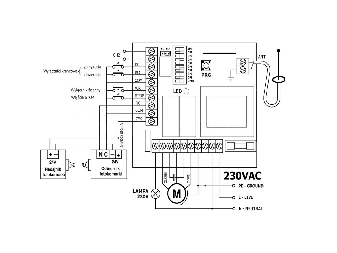 elmes stp sterownik radiowy do bram z silnikiem ac 230v